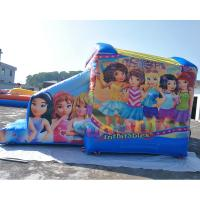 Quality Lego Barbie Inflatable Bouncy Castle With Slide For Girls Silk Printing for sale