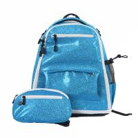 Cheap Trendy Custom Cheer Backpacks / Blue Glitter Backpack With Computer Interlayer wholesale