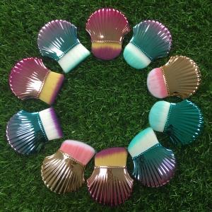 Cheap Shell Makeup Brushes 8 cm Total Length Multicolor Handle Plastic Ferrule Material wholesale
