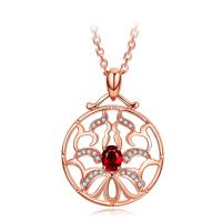 Buy cheap Small Real Red Ruby Stone And Rose Gold Necklace With Diamond Surround from wholesalers