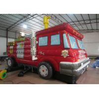 Cheap Funny Firetruck Inside Bounce House , Kindergarten Baby Indoor Inflatable Bouncer wholesale