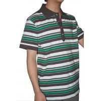 China Tranfering Strip Pattern Striped T Shirt Mens , White Green Mens T Shirt With Collar on sale