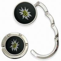 Cheap Round-shaped Contractible Handbag Hanger with Embedded Magnet, Made of Zinc Alloy wholesale