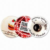 Cheap 10cm Circular Coasters, Made of 5mm Thick Acrylic, with CMYK Logo and Visual wholesale