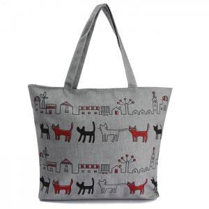Cheap Print Animal Cartoon Womens Canvas Shopper Bag With Shoulder Straps wholesale