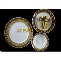 Colorful Decal Designed Round Dinnerware Sets, 16 Piece Dining Plate Sets Abrasion Resistance