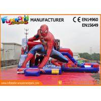 Cheap PVC Tarpaulin Commercial Bouncy Castles Spiderman Inflatable Bouncer Slide wholesale
