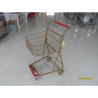 Cheap Supermarket 40 L Singel Basket Metal Shopping Cart With Wheels And Front Bumper wholesale