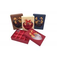Cheap Fancy Small Chocolate Gift Box With Ribbon Bows And Heart Shaped Window wholesale
