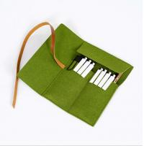 Cheap Felt Pencil Organizer Pouch/Zipper Pouch Grass Green Durable For Students wholesale