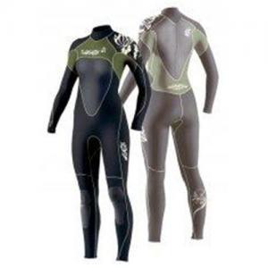 Ladies Full Black / Green XL Scuba Diving Neoprene Wetsuits 4/ 3mm