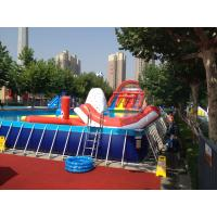 Cheap Commercial Metal Frame Pool Red Water Slide Pool With Floating Toys wholesale