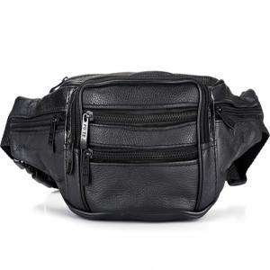 Cheap Black Men Leather Travel Waist BagLining 210 D 4 Zipper Pocket Adjustable Strap wholesale