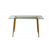 Buy cheap Y Shape Frame 710mm Height Dining Table Tempered Glass Top from wholesalers