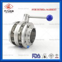 Cheap Dairy Sanitary Butterfly Valve Pull Handle Three Piece Butterfly Valve wholesale