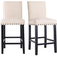 Cheap 24 Inches Padded Counter Stools Upholstered Bar Stools With Solid Wood Legs wholesale