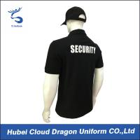 Cheap CVC Black Security T Shirt / Mens Polo Shirts With Pockets , Embroidery / Print Logo wholesale