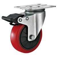 Cheap 4 Inches Polyurethane PU Caster Wheel With Total Locking Brakes Color Optional wholesale