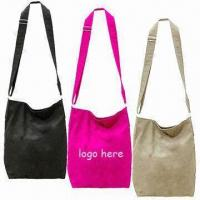 Cheap Stylish Canvas Shoulder Bags with Magnetic Button and Mobile Phone Pocket Inside, Comes in Black wholesale