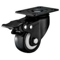 Buy cheap Small Furniture PU Caster Wheel With Swivel Plate Total Locking Black Bracket from wholesalers