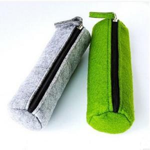 Cheap Cylindric Felt Zipper Soft Pencil PouchEco-Friendly Waterproof Single Layer wholesale