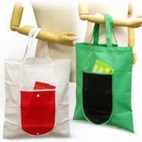 Cheap Foldable Shopping Bags, Made 80g/m² Nonwoven Materials, Green Product wholesale