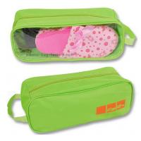 Cheap 600D Polyester Travel Shoe Storage Bag Slippers Packaging Organizer Pouch With Transparent PVC Window wholesale