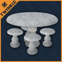 Cheap Elegant White Marble Garden Ornaments With Round Marble Table For Home wholesale