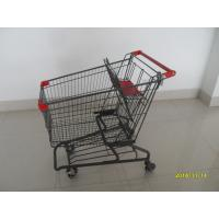 Cheap Durable Grocery Shopping cart trolley With welded low tray and 4x4inch swivel lfat casters wholesale