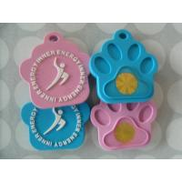 Cheap Heat proof Ion Balance Silicone Dog Tags With Customized Debossed / Embossed Logo wholesale