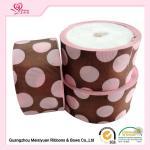 Cheap 50 Mm Custom Grosgrain Ribbon Printing , Pink Dots & Red Dots Silk Grosgrain Ribbon wholesale