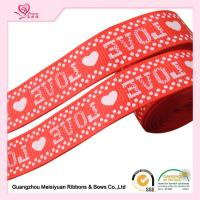 Cheap 2cm Red Printed Heart valentine Grosgrain Ribbon silk Screen process for sale