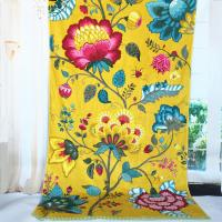 Satin Border Large Promotional Beach Towels Yellow Flower Color 100 X 105 Cm