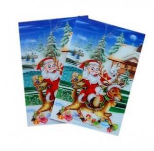 Cheap PLASTIC LENTICULAR Santa Claus 3D Lenticular Christmas Sticker pp pet custom 3d plastic lenticular card stickers wholesale