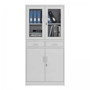 Cheap Metal And Glass Doors Steel Metal File Cabinet With 2 Drawers for office KD structure wholesale