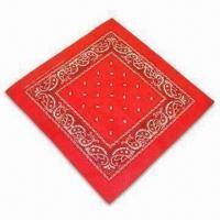 Cheap 100% Cotton Printed or Solid-color Bandana with Locked and Sewn Edges wholesale