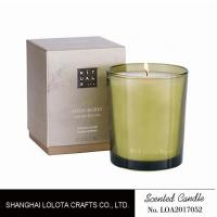 Cheap Handmade Scented Soy Candles , Long Lasting Scented Candles In Green Clear Bottle wholesale