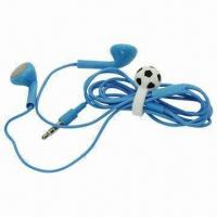Cheap Blue Earphones with Football Design Headset Cable Wrap Tie Cord Winder Holder wholesale