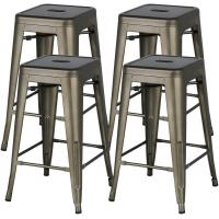 Cheap 24 Inch Stackable Restaurant Chairs Metal Bar Stools Counter Height Barstools High Backless wholesale