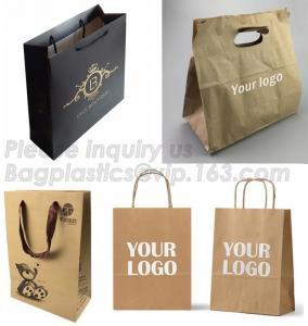 Cheap Kraft Paper Shopping Bag With Ribbon Handles , Bowknot Shopping Bag wholesale