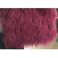 Wine Color Small Sheepskin Throw , Long Hair Windproof Tibetan Lamb Fur Pelts