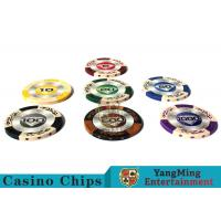 Cheap 14g Custom Clay Poker Chips With Mette Sticker 3.4mm Thickness wholesale