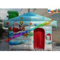Cheap Customized Inflatable Christmas Decorations , PVC Inflatable Santa Grotto House wholesale