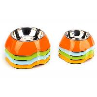 Cheap Two Size Multi Color Cool Pet Bowls , A5 Melamine With Anti Slip Pet Dishes Bowls wholesale