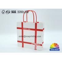Buy cheap Personalized Recyclable White Custom Paper Shopping Bags With Red Rope Handle​ from wholesalers