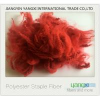 Cheap Renewable Polyester Spinning Fiber Red Dyed fiber Easy To Process wholesale