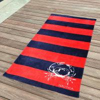 Awesome Kids Swimming Towels Red and Navy Striped Seashell Beach Towels