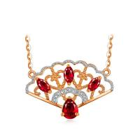 Buy cheap 18K Rose Gold Gemstone Jewelry Ruby & Diamonds Pendant Necklace from wholesalers