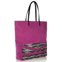 Cheap Suede Leather Shopper Bag , Snake Leather Piece Block Bag Hand Stitching wholesale