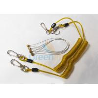Safety 5.9'' Steel Inside Plastic Coil Lanyard Transparent Yellow PU Coating
